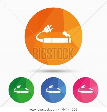 Smoking sign icon. E-Cigarette symbol. Electronic cigarette. Triangular low poly button with flat icon. Vector
