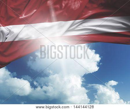Latvia flag on a beautiful day