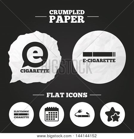 Crumpled paper speech bubble. E-Cigarette with plug icons. Electronic smoking symbols. Speech bubble sign. Paper button. Vector