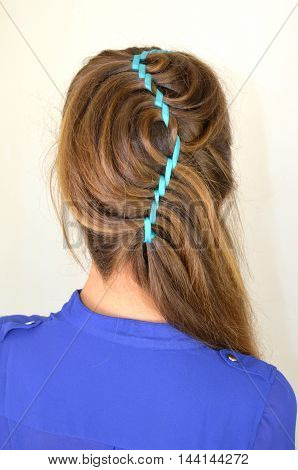 Hollywood wave, hair weave with blue ribbon