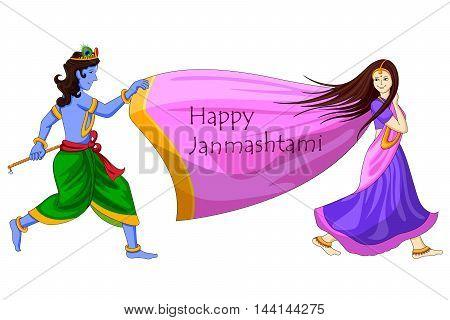 vector illustration of Krishna playing with Radha on Happy Janmashtami background