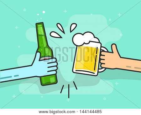 Beer toasting vector illustration on blue background, hands holding beer glasses with foam and bubbles flat outline line style, concept of celebrating in pub, birthday party
