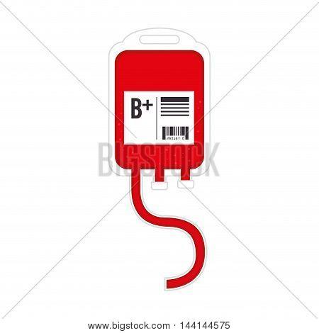 blood bag red donate positive medicine life vector illustration