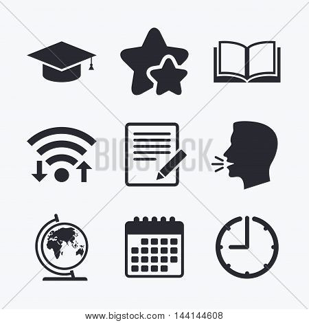 Pencil with document and open book icons. Graduation cap and geography globe symbols. Learn signs. Wifi internet, favorite stars, calendar and clock. Talking head. Vector