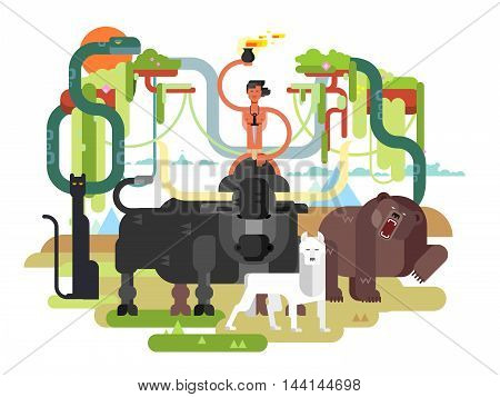 Character Mowgli. Wild man person cartoon, wildlife bull bear and wolf. Flat vector illustration