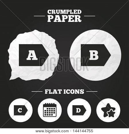 Crumpled paper speech bubble. Energy efficiency class icons. Energy consumption sign symbols. Class A, B, C and D. Paper button. Vector
