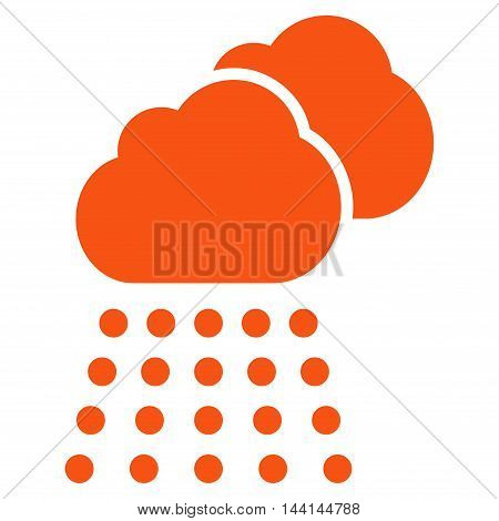 Rain Clouds icon. Vector style is flat iconic symbol, orange color, white background.