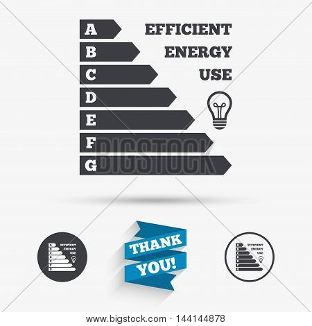 Energy efficiency icon. Electricity consumption symbol. Idea lamp sign. Flat icons. Buttons with icons. Thank you ribbon. Vector