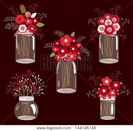 Set of 5 red floral bouquets in jars