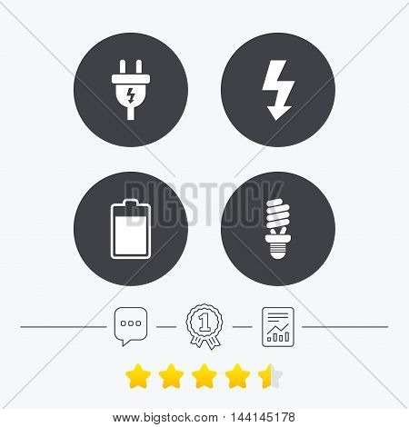 Electric plug icon. Fluorescent lamp and battery symbols. Low electricity and idea signs. Chat, award medal and report linear icons. Star vote ranking. Vector