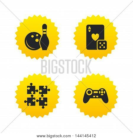 Bowling and Casino icons. Video game joystick and playing card with puzzles pieces symbols. Entertainment signs. Yellow stars labels with flat icons. Vector