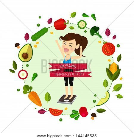 Food for your healthy and body.woman is weight lost .Vector illustration cartoon concept.