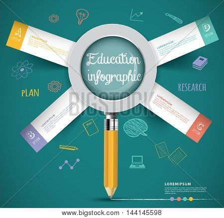 creative magnifying glass idea from pencil education infographic elements.can used for banneradvertisingwebpresentation business.illustration concept.
