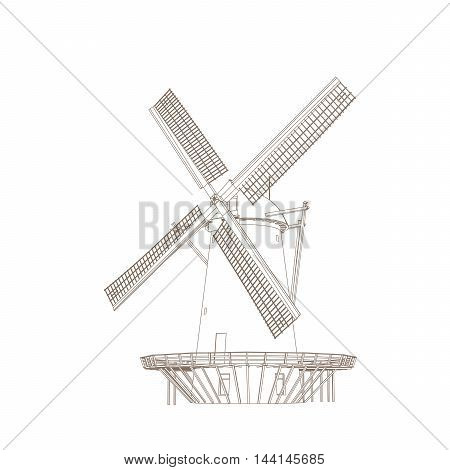 Vector Illustration Of Old Classic Windmill Isolated On White