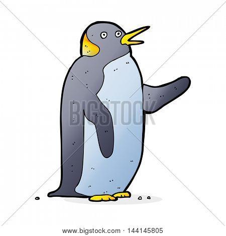cartoon penguin waving
