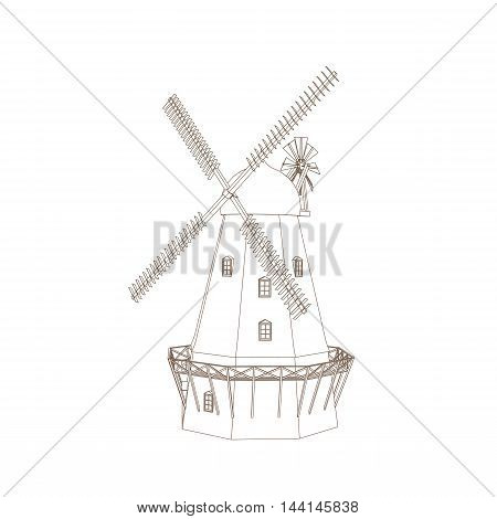 Vector Illustration Of Old Wind Mill Isolated On White