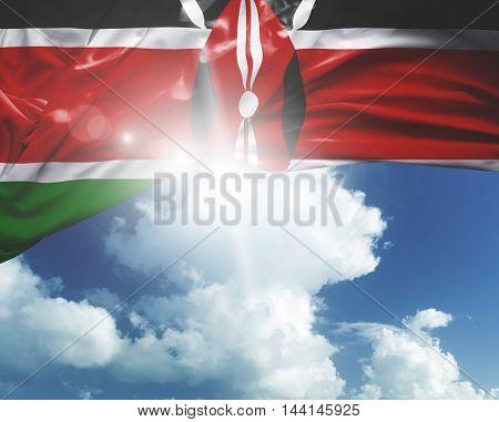 Kenya flag on a beautiful day