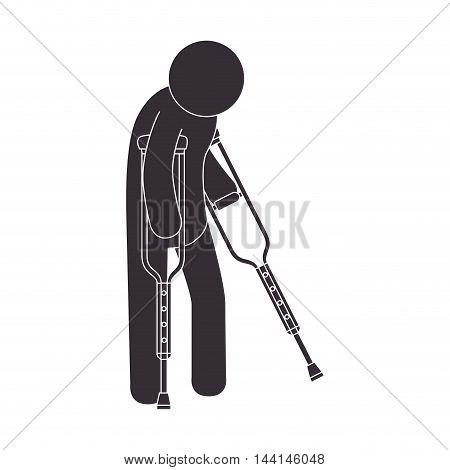 man crutches illness health injury walk patient vector illustration