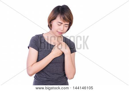 Young asian female heartache, pressing on chest with painful expression