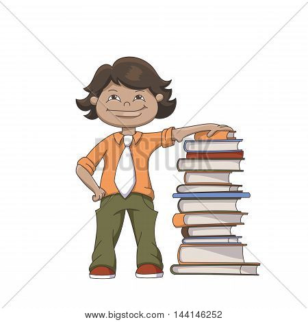 Cartoon Standing Schoolboy With Pile Of Books Isolated On White