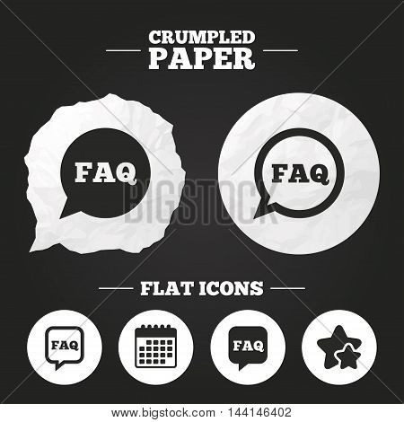 Crumpled paper speech bubble. FAQ information icons. Help speech bubbles symbols. Circle and square talk signs. Paper button. Vector