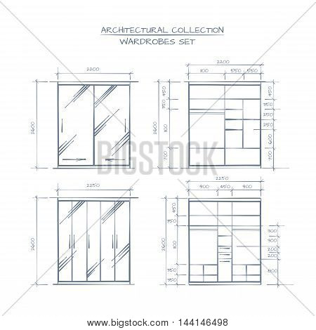 Technical Illustration Of Wardrobe Construction. Architectural Proffessional Hand Drawn Style Drawing.