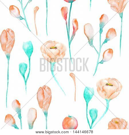 A seamless floral pattern with the watercolor beautiful tender and turquoise pink spring flowers on a white background