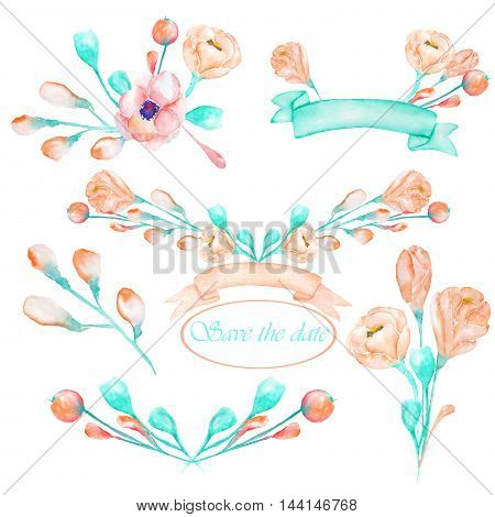 A set with an isolated frame borders, floral decorative ornaments with the watercolor pink and turquoise flowers, leaves and buds, painted on a white background for a wedding or other decoration