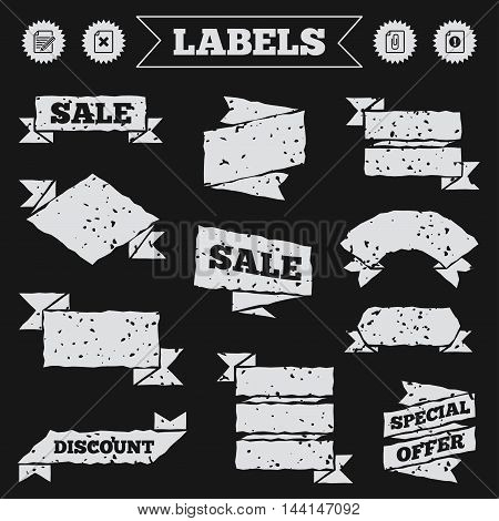 Stickers, tags and banners with grunge. File attention icons. Document delete and pencil edit symbols. Paper clip attach sign. Sale or discount labels. Vector