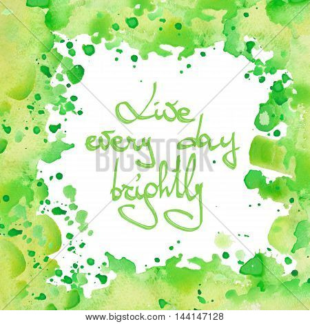 Frame border, watercolor decorative ornament with green blots on a white background for greeting card, decoration postcard or invitation