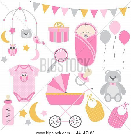 Vector pink and yellow baby girl set