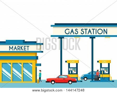 Gas filling station. Energy. Vector flat illustration. Gasoline and oil station with market. Happy customers