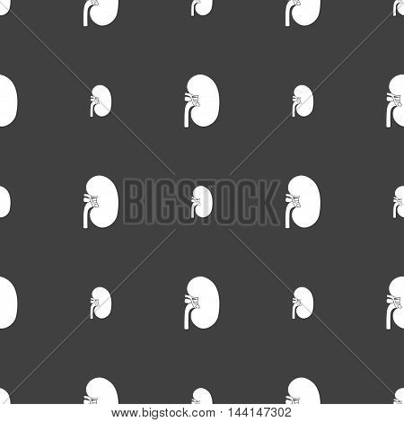 Kidney Sign. Seamless Pattern On A Gray Background. Vector