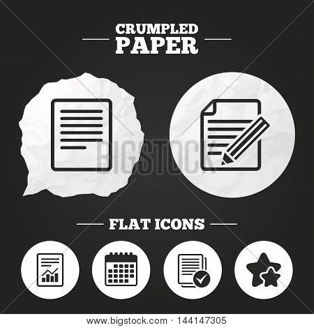 Crumpled paper speech bubble. File document icons. Document with chart or graph symbol. Edit content with pencil sign. Select file with checkbox. Paper button. Vector