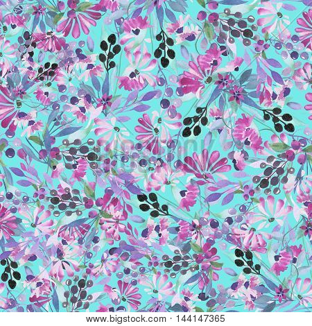 Seamless pattern of purple flowers and berries, blue leaves painted in watercolor on a turquoise background