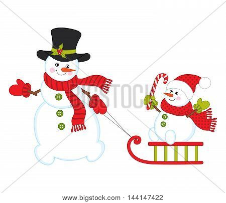Vector Christmas snowman with baby snowman, sledge and candy stick