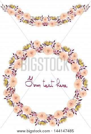 Circle frame, wreath and garland of yellow and tender pink flowers and branches with the vinous leaves painted in watercolor on a white background, greeting card, decoration postcard or invitation