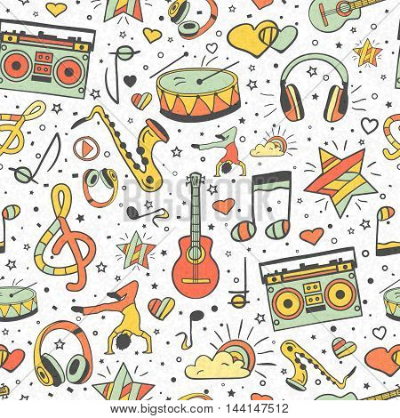 Vector musical pattern, doodle style. Seamless musical texture. Hand drawn design elements: notes and headphones, player, musical instruments. Vintage music background.