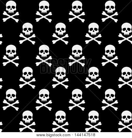 vector seamless pattern with skulls, black and white Halloween background