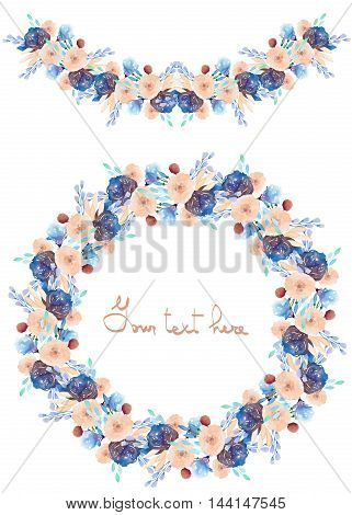 Circle frame, wreath and garland of blue and tender pink flowers and branches with the blue leaves painted in watercolor on a white background, greeting card, decoration postcard or invitation