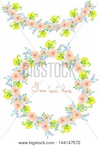 Circle frame, wreath and garland of yellow and tender pink flowers and branches with the blue leaves painted in watercolor on a white background, greeting card, decoration postcard or invitation