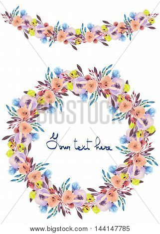 Circle frame, wreath and garland of purple, pink and yellow flowers and branches with the violet leaves painted in watercolor on a white background, greeting card, decoration postcard or invitation