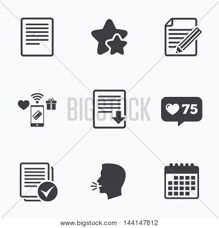 File document icons. Download file symbol. Edit content with pencil sign. Select file with checkbox. Flat talking head, calendar icons. Stars, like counter icons. Vector