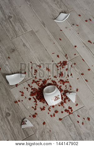 Broken bowl of diced peppers on the floor