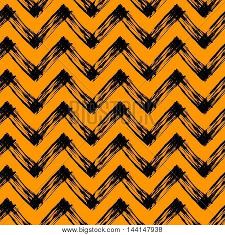vector seamless pattern with zigzag lines, black and orange halloween pattern