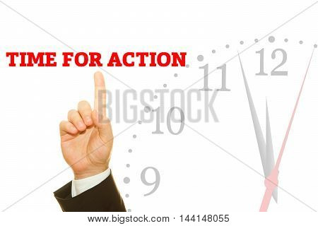 Businessman hand writing TIME FOR ACTION message on a transparent wipe board.