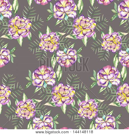 A seamless floral pattern with the watercolor violet and yellow exotic flowers and green leaves painted on a grey background