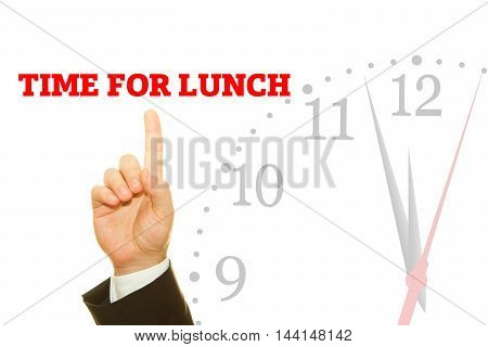 Businessman hand writing TIME FOR LUNCH message on a transparent wipe board.