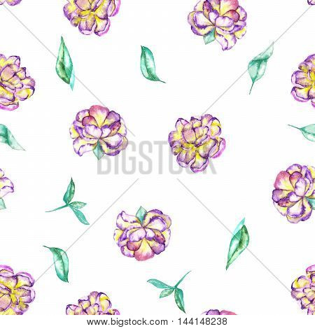 A seamless floral pattern with the watercolor purple and yellow exotic flowers (peony) and green leaves painted on a white background