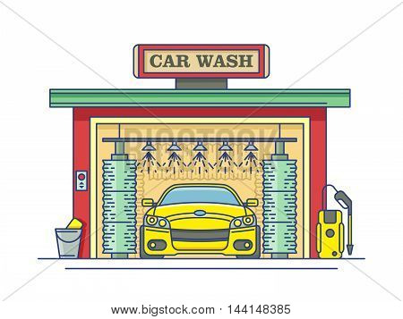 Car wash station. Service auto clean, garage and transport. Vector illustration